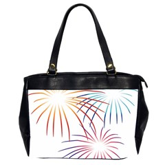 Fireworks Orange Blue Red Pink Purple Office Handbags (2 Sides)  by Alisyart