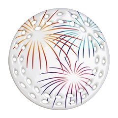 Fireworks Orange Blue Red Pink Purple Round Filigree Ornament (two Sides) by Alisyart
