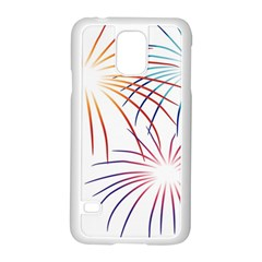 Fireworks Orange Blue Red Pink Purple Samsung Galaxy S5 Case (white)