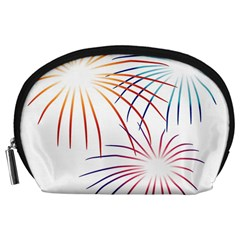 Fireworks Orange Blue Red Pink Purple Accessory Pouches (large)  by Alisyart