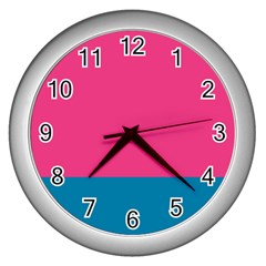 Flag Color Pink Blue Wall Clocks (silver)
