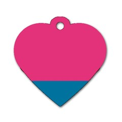 Flag Color Pink Blue Dog Tag Heart (one Side) by Alisyart