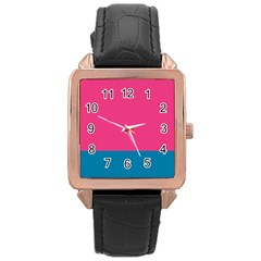 Flag Color Pink Blue Rose Gold Leather Watch  by Alisyart