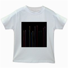 Falling Light Lines Color Pink Blue Yellow Kids White T Shirts by Alisyart