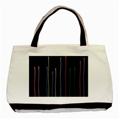 Falling Light Lines Color Pink Blue Yellow Basic Tote Bag