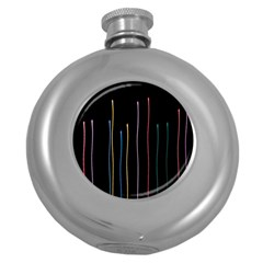 Falling Light Lines Color Pink Blue Yellow Round Hip Flask (5 Oz) by Alisyart