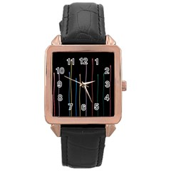 Falling Light Lines Color Pink Blue Yellow Rose Gold Leather Watch