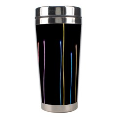 Falling Light Lines Color Pink Blue Yellow Stainless Steel Travel Tumblers by Alisyart