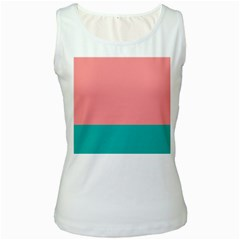 Flag Color Pink Blue Line Women s White Tank Top