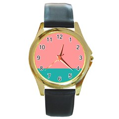 Flag Color Pink Blue Line Round Gold Metal Watch by Alisyart