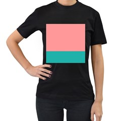 Flag Color Pink Blue Line Women s T Shirt (black) (two Sided) by Alisyart