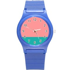 Flag Color Pink Blue Line Round Plastic Sport Watch (s)
