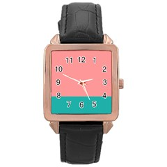 Flag Color Pink Blue Line Rose Gold Leather Watch  by Alisyart