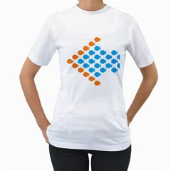 Fish Arrow Orange Blue Women s T Shirt (white) (two Sided) by Alisyart