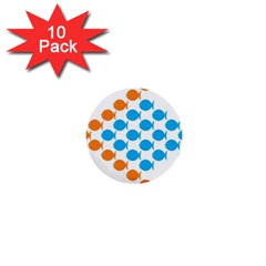 Fish Arrow Orange Blue 1  Mini Buttons (10 Pack)  by Alisyart