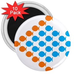 Fish Arrow Orange Blue 3  Magnets (10 Pack)  by Alisyart