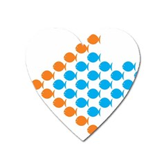 Fish Arrow Orange Blue Heart Magnet by Alisyart