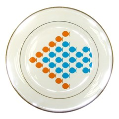 Fish Arrow Orange Blue Porcelain Plates by Alisyart