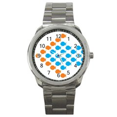 Fish Arrow Orange Blue Sport Metal Watch