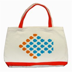 Fish Arrow Orange Blue Classic Tote Bag (red) by Alisyart