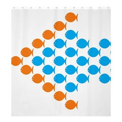 Fish Arrow Orange Blue Shower Curtain 66  X 72  (large)  by Alisyart