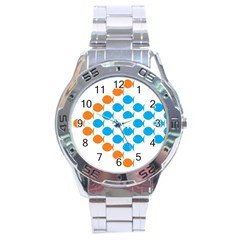 Fish Arrow Orange Blue Stainless Steel Analogue Watch