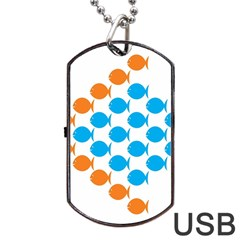 Fish Arrow Orange Blue Dog Tag Usb Flash (two Sides) by Alisyart