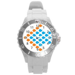 Fish Arrow Orange Blue Round Plastic Sport Watch (l) by Alisyart