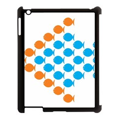 Fish Arrow Orange Blue Apple Ipad 3/4 Case (black) by Alisyart