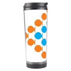 Fish Arrow Orange Blue Travel Tumbler by Alisyart