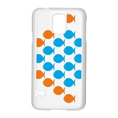 Fish Arrow Orange Blue Samsung Galaxy S5 Case (white)