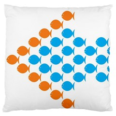 Fish Arrow Orange Blue Standard Flano Cushion Case (one Side)