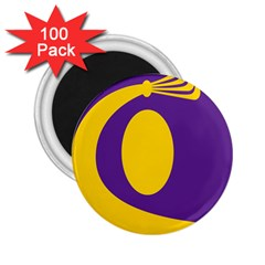 Flag Purple Yellow Circle 2 25  Magnets (100 Pack)  by Alisyart