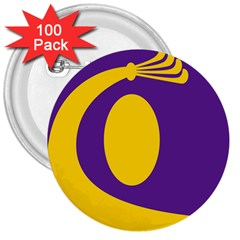 Flag Purple Yellow Circle 3  Buttons (100 Pack)  by Alisyart