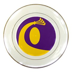 Flag Purple Yellow Circle Porcelain Plates by Alisyart