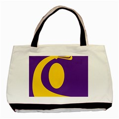 Flag Purple Yellow Circle Basic Tote Bag (two Sides) by Alisyart