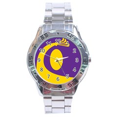 Flag Purple Yellow Circle Stainless Steel Analogue Watch by Alisyart