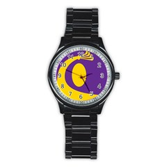 Flag Purple Yellow Circle Stainless Steel Round Watch by Alisyart