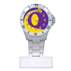 Flag Purple Yellow Circle Plastic Nurses Watch by Alisyart