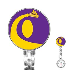 Flag Purple Yellow Circle Stainless Steel Nurses Watch by Alisyart