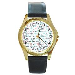 Connect Dots Color Rainbow Blue Red Circle Line Round Gold Metal Watch by Alisyart
