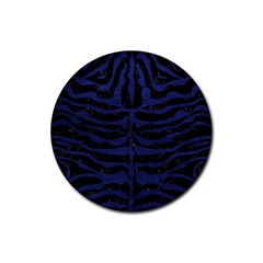 Skin2 Black Marble & Blue Leather Rubber Round Coaster (4 Pack) by trendistuff