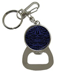 Skin2 Black Marble & Blue Leather Bottle Opener Key Chain by trendistuff