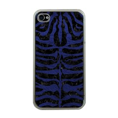 Skin2 Black Marble & Blue Leather Apple Iphone 4 Case (clear) by trendistuff