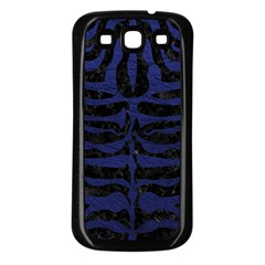 Skin2 Black Marble & Blue Leather Samsung Galaxy S3 Back Case (black) by trendistuff