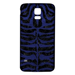 Skin2 Black Marble & Blue Leather Samsung Galaxy S5 Back Case (white) by trendistuff