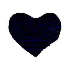 Skin2 Black Marble & Blue Leather Standard 16  Premium Flano Heart Shape Cushion