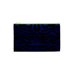 Skin2 Black Marble & Blue Leather Cosmetic Bag (xs) by trendistuff