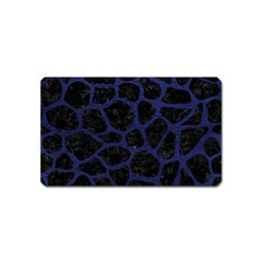 Skin1 Black Marble & Blue Leather (r) Magnet (name Card) by trendistuff