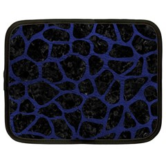 Skin1 Black Marble & Blue Leather (r) Netbook Case (large) by trendistuff